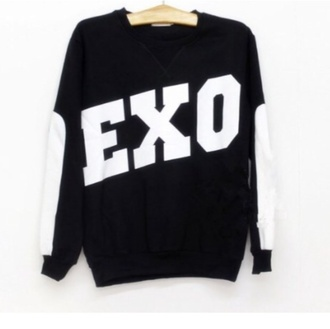 sweater kpop exo exo k exo m black white