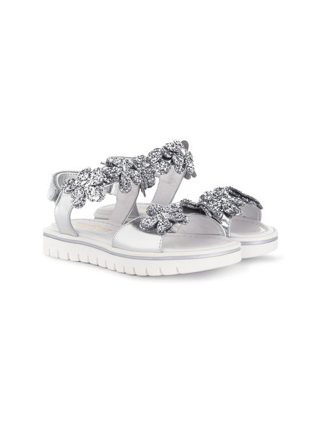 Montelpare Tradition sandals floral leather grey metallic shoes