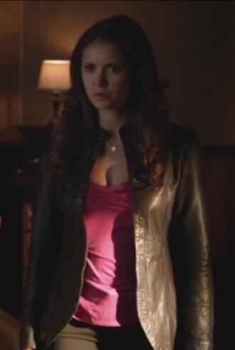 jacket the vampire diaries leather pink top nina dobrev elena gilbert