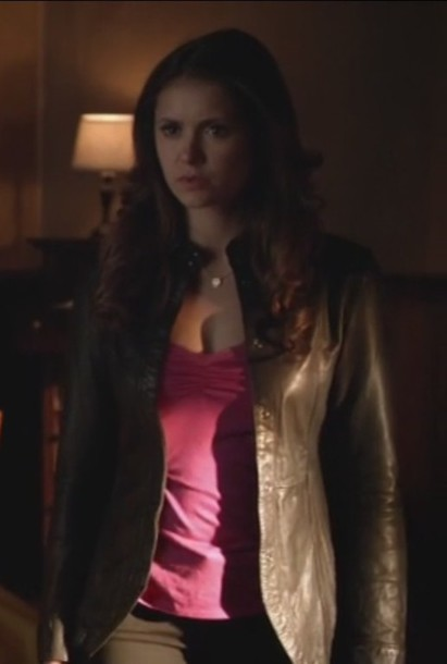 jacket the vampire diaries leather pink top nina dobrev elena gilbert