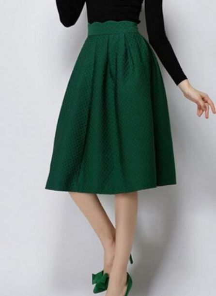 Skirt: green skirt, green midi skirt, pleated midi skirt, high ...