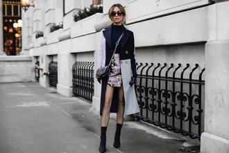 my white t blogger coat shoes skirt bag sunglasses mini skirt sock boots crossbody bag