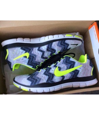 shoes nike running shoes trainers nike shoes aztec shoes neon yellow grey shoes