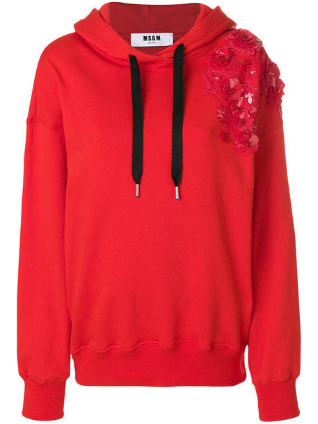 MSGM hoodie women embellished floral cotton red sweater