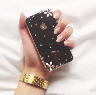 jewels flowers white iphone 4s case iphone case look-a-like marc jacobs