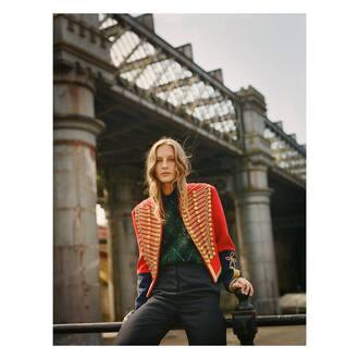 jacket red jacket pants blue pants top green top