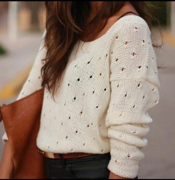 pullover cute white cardigan