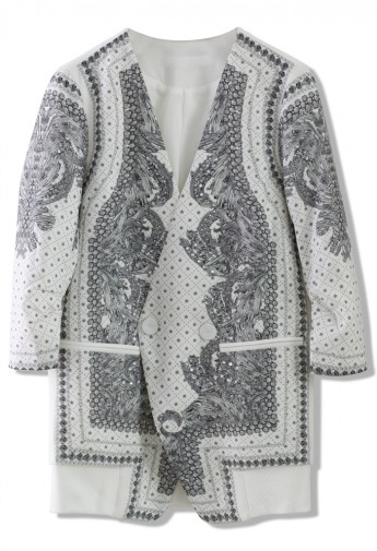 Baroque Pattern Double Breasted White Blazer - Retro, Indie and Unique Fashion