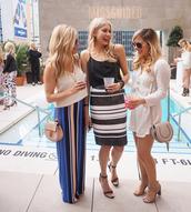 modern ensemble,blogger,jewels,sunglasses,white romper,long sleeve romper,white top,black top,black and white skirt,striped skirt,pink bag,mini bag,maxi skirt,nude heels,black heels