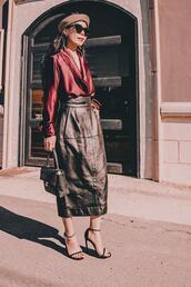 hallie daily,blogger,bag,shoes,sunglasses,hat,sandals,high heel sandals,leather skirt,red blouse