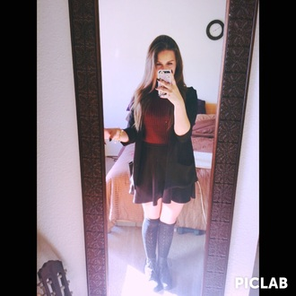 burgundy top black skirt knee high socks black boots black blazer matte nail polish