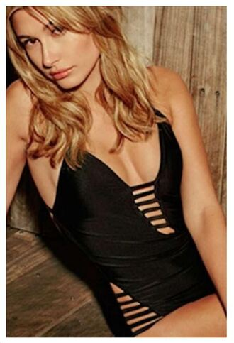 swimwear hailey baldwin black swimwear one piece swimsuit model monokini summer