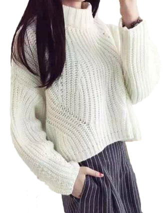 sweater brenda-shop pullover white knitwear knitted sweater crop cropped cropped sweater o-neck casual