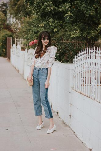 jeans and a teacup blogger top shoes bag sunglasses jewels blouse mid heel pumps white shoes spring outfits round bag