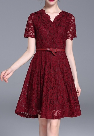 dress lace dress burgundy red dress fashion elegant classy dezzal