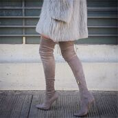 shoes,tumblr,grey boots,over the knee boots,over the knee,high heels boots,pointed boots,coat,fur coat,grey fur coat,grey coat