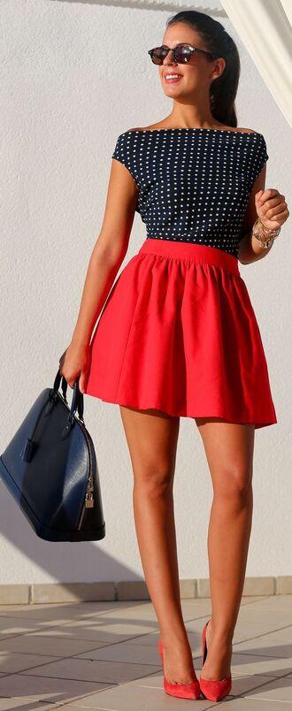 skirt bag black bag red pumps red mini skirt mini skirt red skirt top black top sunglasses pointed toe pumps pumps polka dots
