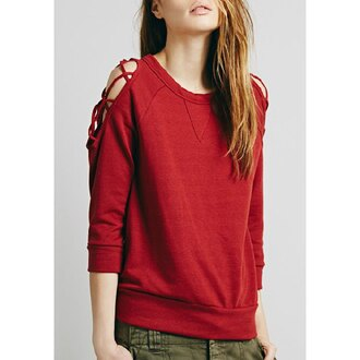 sweater red sweater back to school fall outfits strappy streetwear hipster style asian fashion fall sweater urban sweatshirt off the shoulder trendy winter sweater