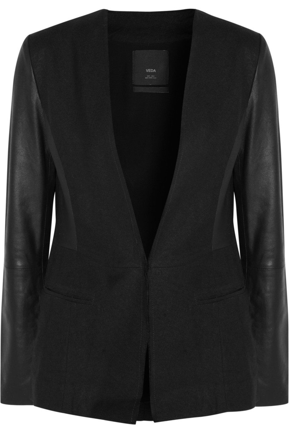 Van Gogh canvas and leather blazer   Veda   50% off   THE OUTNET