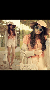 beige,floppy hat,blouse