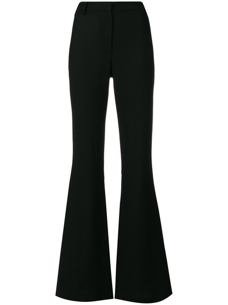 Goat flare high women cotton black wool pants