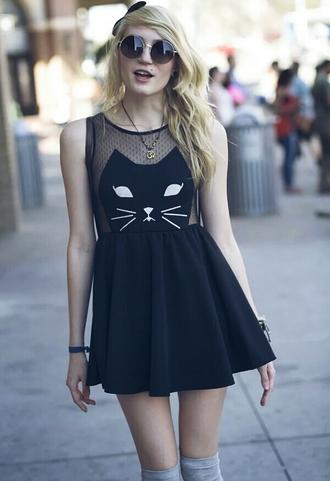 dress cats cat dress mesh see through skater dress sunglasses streetstyle streetwear street fashion