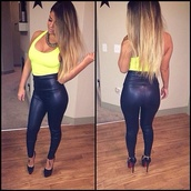pants,yellow,leggings,black,skinny pants,high heels,crop tops,tank top,shoes