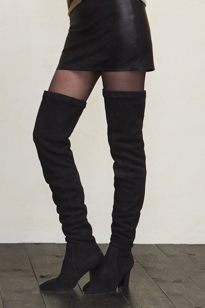 shoes boots over the knee boots thigh high boots thigh-high boots suede boots black boots