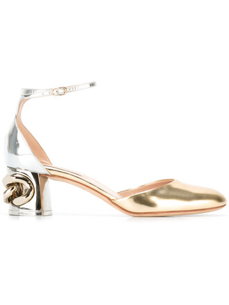 metal women pumps leather grey metallic shoes