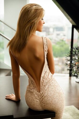 dress v back dress deep v back long evening dress white lace dress gorgeous dress pretty girl tanned girl form fitting dress