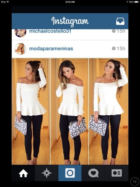 shirt blouse white peplum black pattern pattern clutch bag spring outfit spring outfits off shoulder peplum off the shoulder long sleeves top dressy off the shoulder sweater white shirt peplum shirt white peplum shirt white off the shoulder peplum top high waisted high waisted pants classy party summer outfits winter outfits high heels t-shirt top necklace jewels streetwear streetstyle style sexy denim shirt skinny pants black and white white long sleeve blouse cream off the shoulder top peplum waist shoes white peplum long sleeves pants strapless top peplum top white top off the shoulder peplum off the shoulder white looking for this top