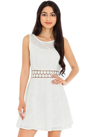 White crochet waist fit and flare dress