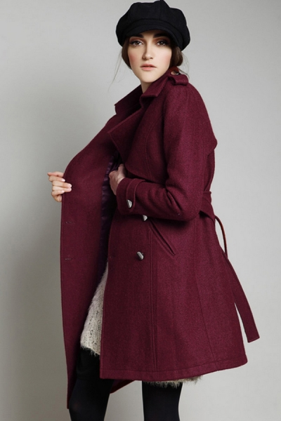 Irregular Double-breasted Wool-blend Coat - OASAP.com