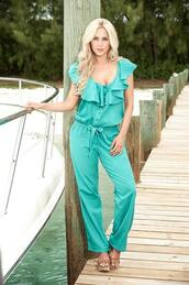 jumpsuit,buttoned front,cap sleeves,ruffled neck,mapalé