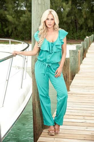 jumpsuit buttoned front cap sleeves ruffled neck mapalé