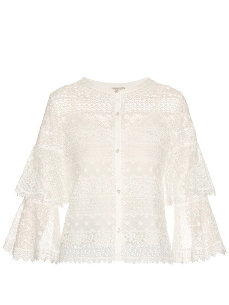 TEMPERLEY LONDON Desdemona lace top in white