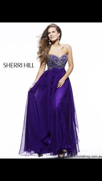 dress sherri hill homecoming dress long home coming dress purple dress deep purple violet dress prom dress long prom dress deep purple dress