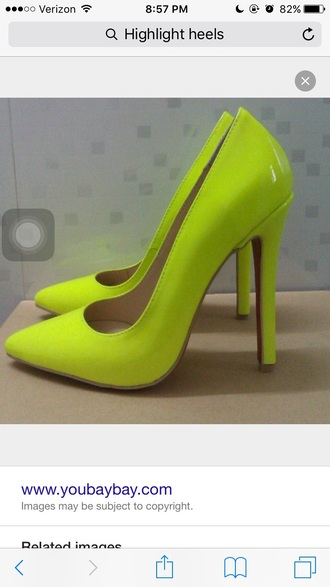 shoes highlight yellow heels bright yellow heels highlight yellow yellow neon yellow heels neon yellow bright neon yellow heels pumps shoes