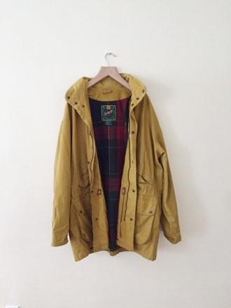 coat yellow coat rain jacket yellow rain jacket yellow jacket mustard anorak parka grunge jeans dcmartens vintage indie yellow jacket striped shirt boho cool fall outfits