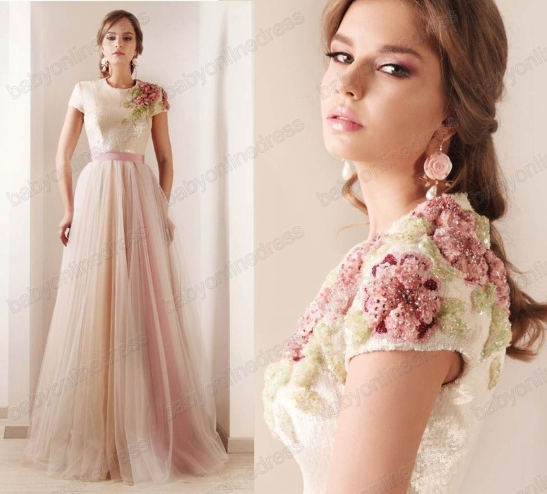 2013 New Sexy Short Sleeves Tulle Prom Dresses Print Beaded High ...