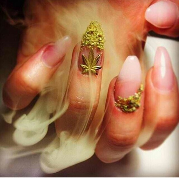 nail polish weed cute nails nail art 420 miley cyrus