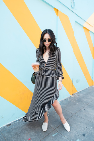 the fancy pants report blogger top skirt shoes bag sunglasses striped dress loafers