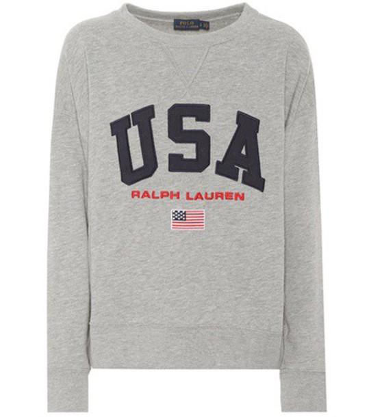 Polo Ralph Lauren Appliquéd jersey sweatshirt in grey