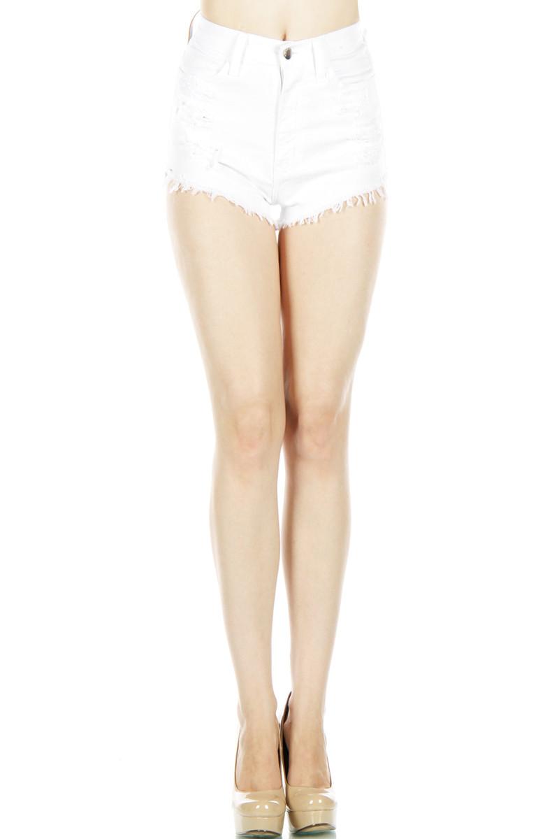 Distressed high waist shorts