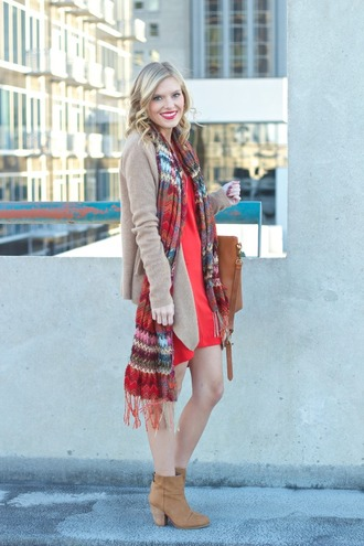 life with emily blogger cardigan scarf bag red dress dress shoes