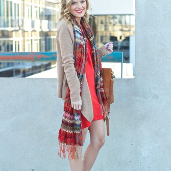 scarf bag red dress cardigan blogger life with emily scarf red