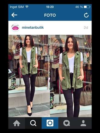 cardigan vest military style green turkish