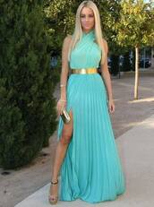 prom dress,slit dress,halter dress,pleated,draped,belted dress,teal,turquoise,chiffon,chiffon dress,bridesmaid,long bridesmaid dress,blonde hair,dress,blue,green,maxi dress,gold,belt,shoes,mini bag,high heels,bag,blues,mint,gown,cross neck turquoise dresss,maxi,turquoise dress,halter neck,halter neck dress,gold belt,side split dress,terqouise,gold belt mint color loveeeee needit