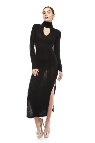 dress trendyish maxi turtleneck high neck long sleeves open side slit ribbed