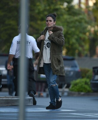 jacket denim ripped jeans rachel bilson streetstyle shoes